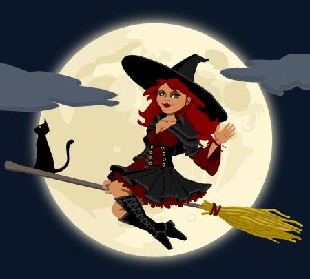 Halloween boszorkány seprűnyélen