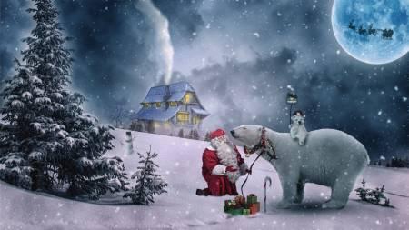 télapós képek küldése Télapó és jegesmedve háttérkép küldése képeslapként  télapós képek küldése