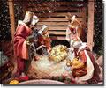 Betlehemi királyok. Jézus születése, vallási karácsonyi képeslap.