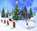 Zenélő karácsonyi képeslap hóemberrel, téli tájjal.