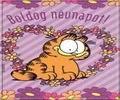 Garfield névnapi képeslap, virágokkal és szívvel.